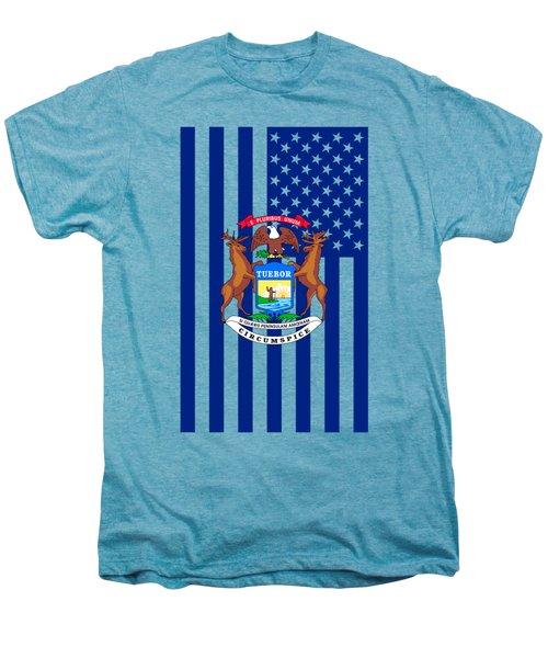 Michigan State Flag Graphic Usa Styling Men's Premium T-Shirt by Garaga Designs