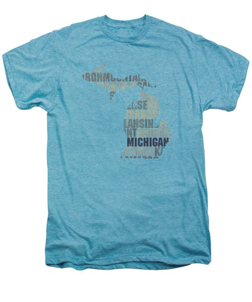 Michigan State Outline Word Map Men's Premium T-Shirt by Design Turnpike