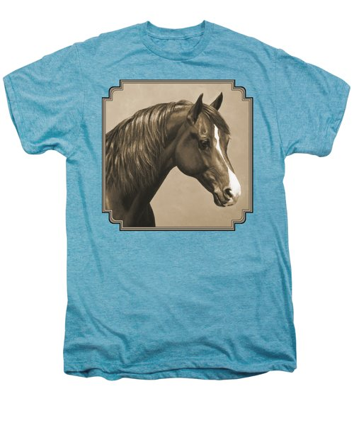 Morgan Horse Painting In Sepia Men's Premium T-Shirt by Crista Forest