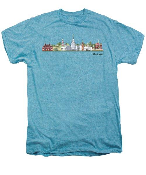 Moscow Skyline Colored Men's Premium T-Shirt by Pablo Romero