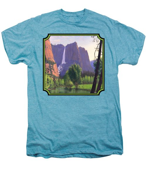 Mountains Waterfall Stream Western Landscape - Square Format Men's Premium T-Shirt by Walt Curlee