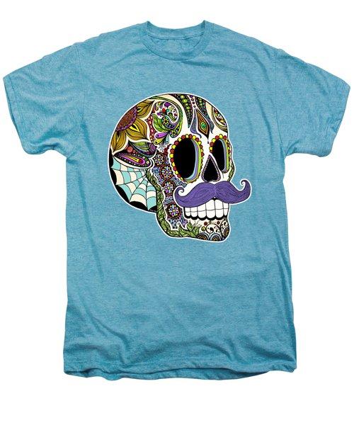 Mustache Sugar Skull Vintage Style Men's Premium T-Shirt by Tammy Wetzel