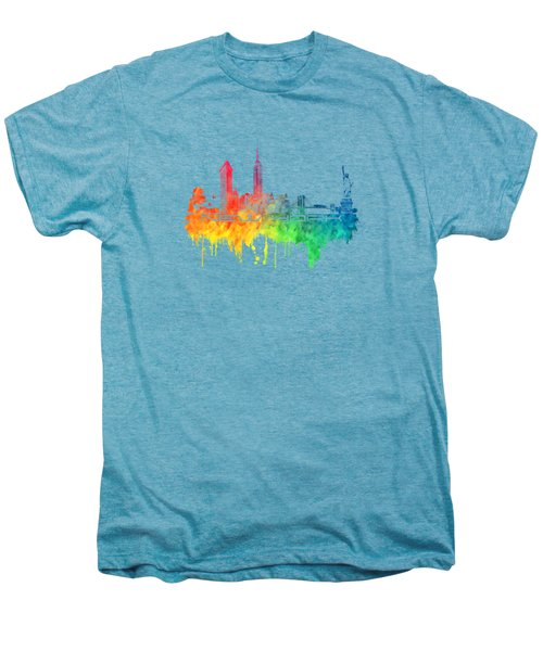 New York City Skyline Color Men's Premium T-Shirt by Justyna JBJart