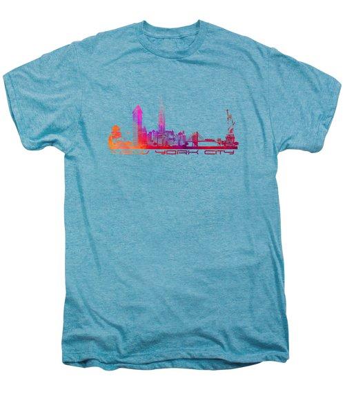 New York City Skyline Purple Men's Premium T-Shirt by Justyna JBJart