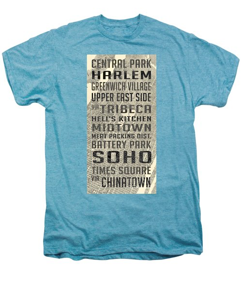 New York City Subway Stops Vintage Map 5 Men's Premium T-Shirt by Edward Fielding