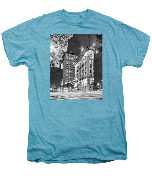 Night Photograph Of The Flatiron Or Saunders Triangle Building - Downtown Fort Worth - Texas Men's Premium T-Shirt by Silvio Ligutti