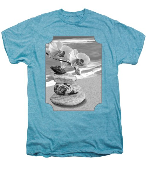 Orchids And Pebbles On The Sand In Black And White Men's Premium T-Shirt by Gill Billington