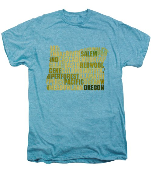 Oregon State Outline Word Map Men's Premium T-Shirt by Design Turnpike