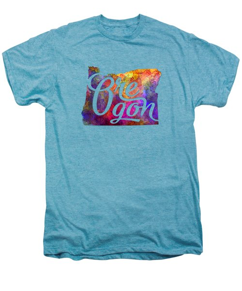 Oregon Us State In Watercolor Text Cut Out Men's Premium T-Shirt by Pablo Romero