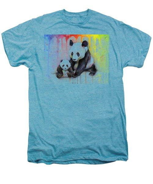 Panda Watercolor Mom And Baby Men's Premium T-Shirt by Olga Shvartsur