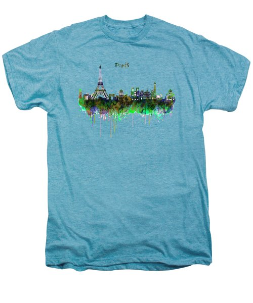 Paris Skyline Watercolor Men's Premium T-Shirt by Marian Voicu