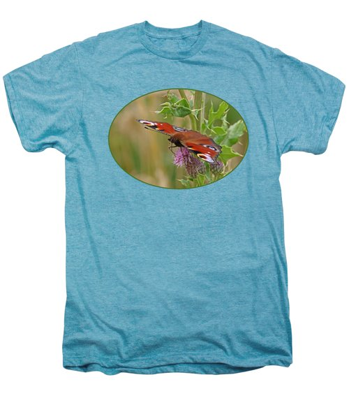 Peacock Butterfly On Thistle Men's Premium T-Shirt by Gill Billington
