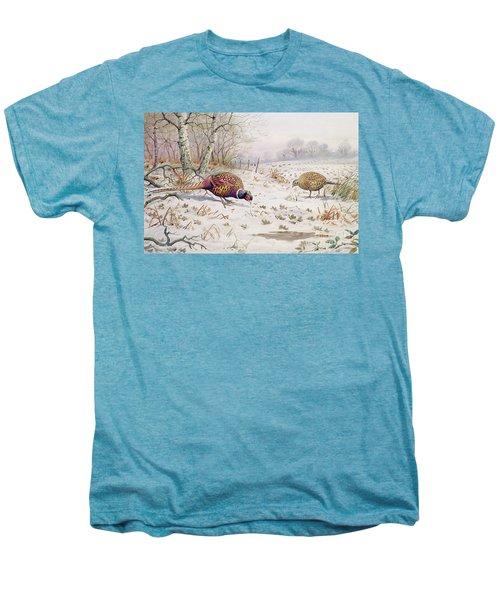 Pheasant And Partridge Eating  Men's Premium T-Shirt by Carl Donner
