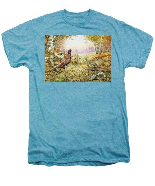 Pheasants In Woodland Men's Premium T-Shirt by Carl Donner