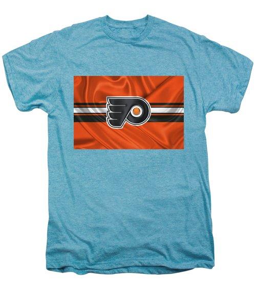 Philadelphia Flyers - 3 D Badge Over Silk Flag Men's Premium T-Shirt by Serge Averbukh