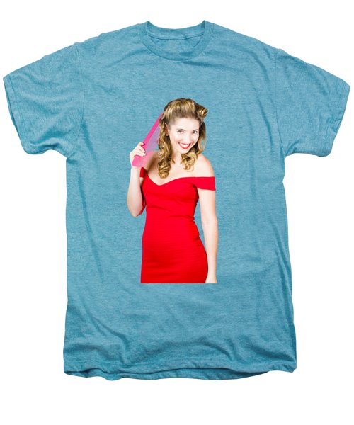 Pin-up Styled Fashion Model With Classic Hairstyle Men's Premium T-Shirt by Jorgo Photography - Wall Art Gallery
