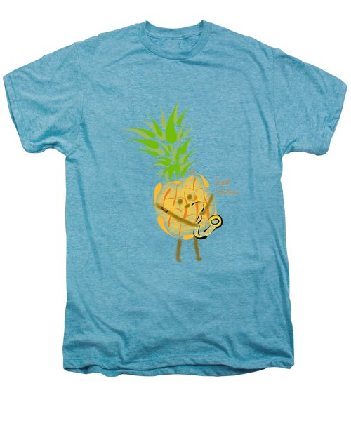 Pineapple Playing Saxophone Men's Premium T-Shirt by Neal Battaglia