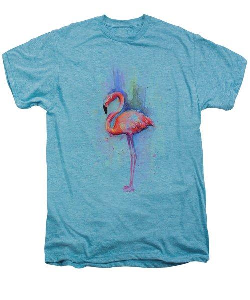 Pink Flamingo Watercolor Men's Premium T-Shirt by Olga Shvartsur