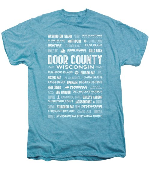 Places Of Door County On Coral Men's Premium T-Shirt by Christopher Arndt