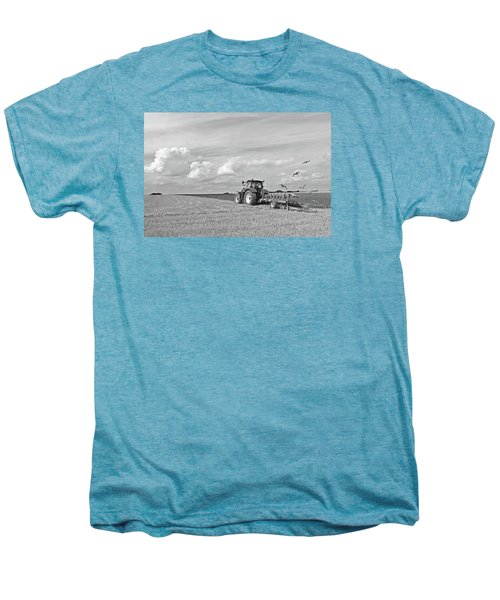 Ploughing After The Harvest In Black And White Men's Premium T-Shirt by Gill Billington