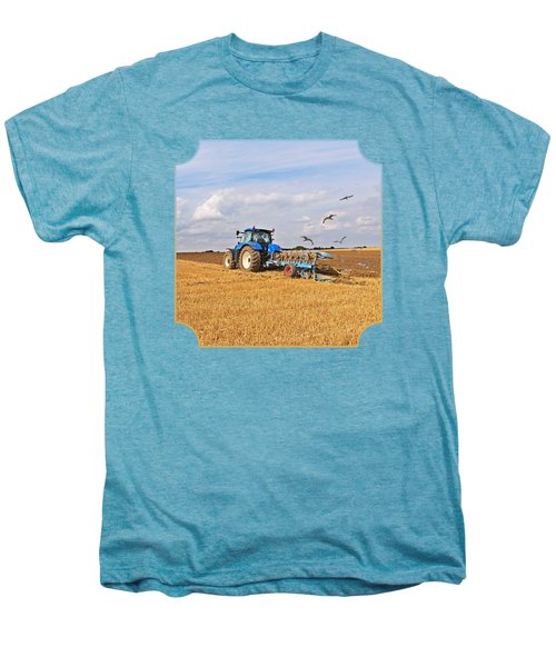 Ploughing After The Harvest - Square Men's Premium T-Shirt by Gill Billington