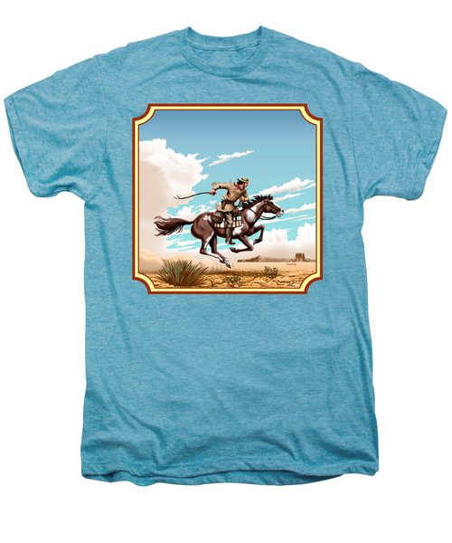 Pony Express Rider - Western Americana - Square Format Men's Premium T-Shirt by Walt Curlee