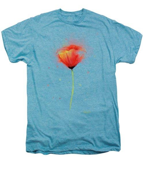 Poppy Watercolor Red Abstract Flower Men's Premium T-Shirt by Olga Shvartsur