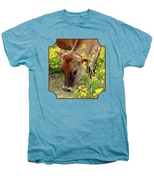 Pretty Jersey Cow - Vertical Men's Premium T-Shirt by Gill Billington