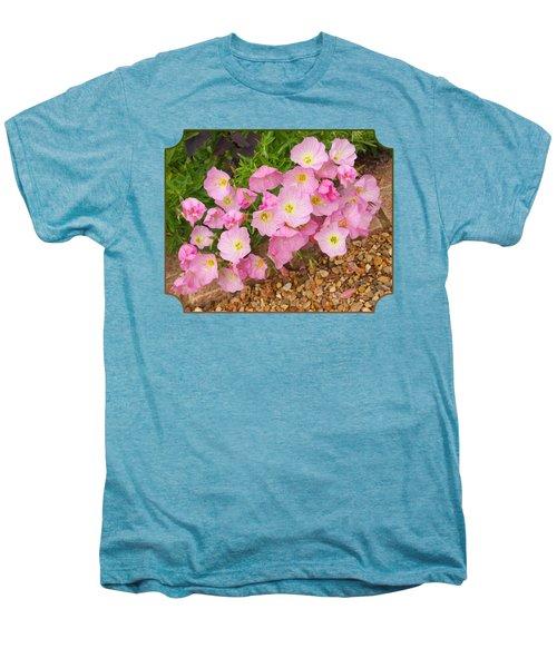 Pretty Pink Rock Roses In The Rain Men's Premium T-Shirt by Gill Billington