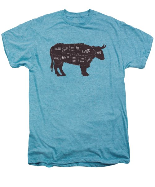 Primitive Butcher Shop Beef Cuts Chart T-shirt Men's Premium T-Shirt by Edward Fielding