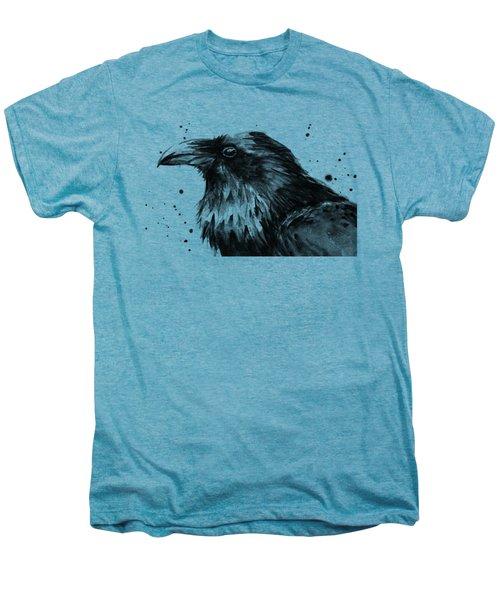 Raven Watercolor Portrait Men's Premium T-Shirt by Olga Shvartsur