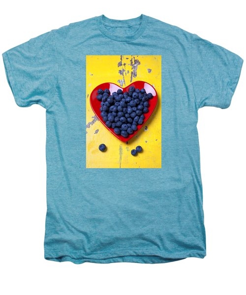 Red Heart Plate With Blueberries Men's Premium T-Shirt by Garry Gay