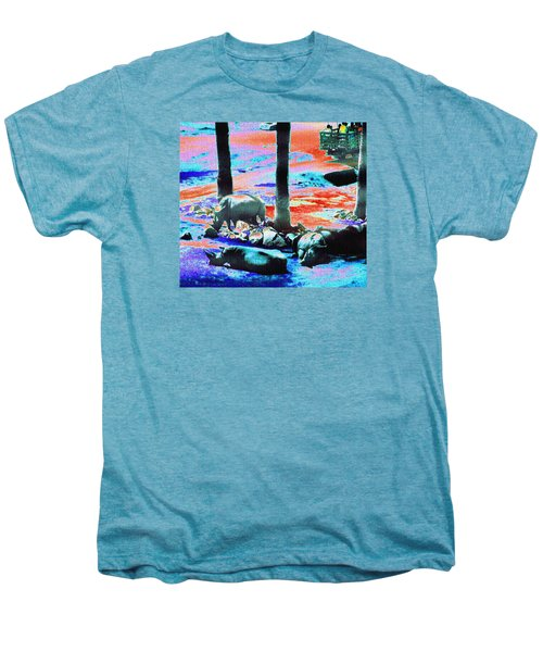 Rhinos Having A Picnic Men's Premium T-Shirt by Abstract Angel Artist Stephen K