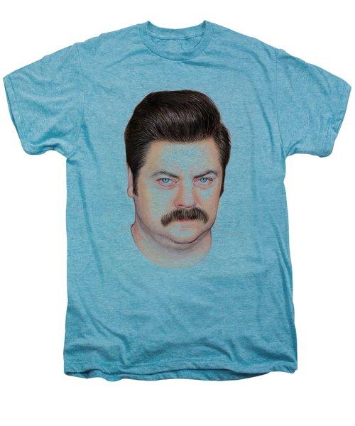 Ron Swanson Portrait Nick Offerman Men's Premium T-Shirt by Olga Shvartsur