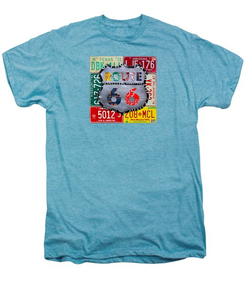 Route 66 Highway Road Sign License Plate Art Men's Premium T-Shirt by Design Turnpike