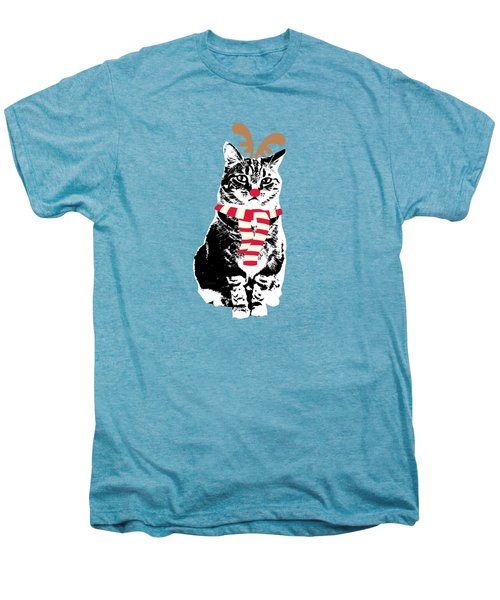 Rudolph The Red Nosed Cat- Art By Linda Woods Men's Premium T-Shirt by Linda Woods