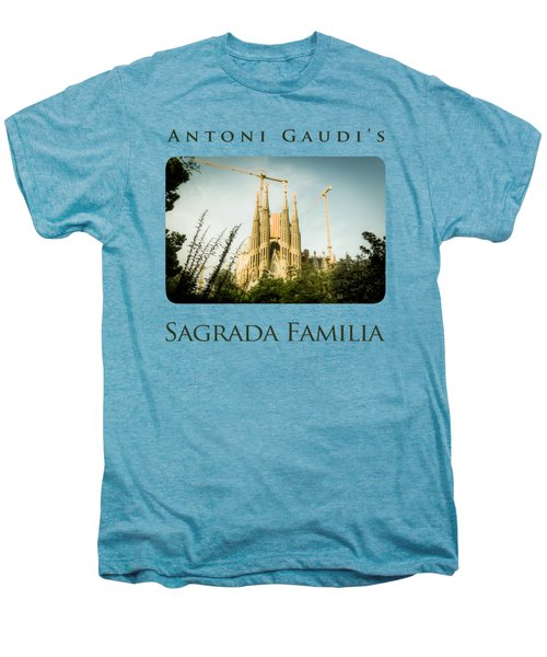 Sagrada Familia With Catalonia's Flag Men's Premium T-Shirt by Alejandro Ascanio