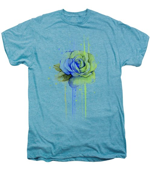 Seattle 12th Man Seahawks Watercolor Rose Men's Premium T-Shirt by Olga Shvartsur
