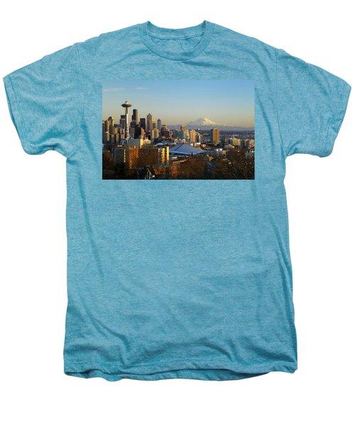Seattle Cityscape Men's Premium T-Shirt by Greg Vaughn - Printscapes