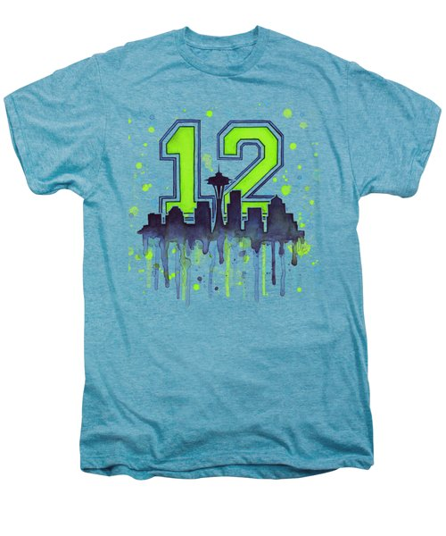 Seattle Seahawks 12th Man Art Men's Premium T-Shirt by Olga Shvartsur