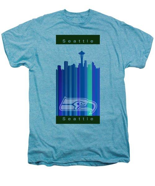 Seattle Sehawks Skyline Men's Premium T-Shirt by Alberto RuiZ