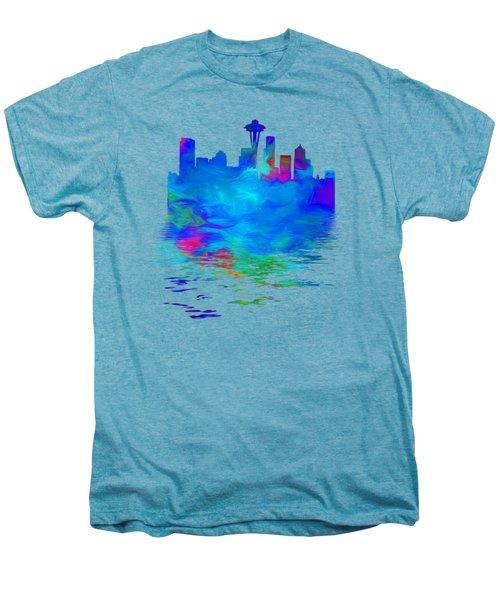 Seattle Skyline, Blue Tones On White Men's Premium T-Shirt by Pamela Saville