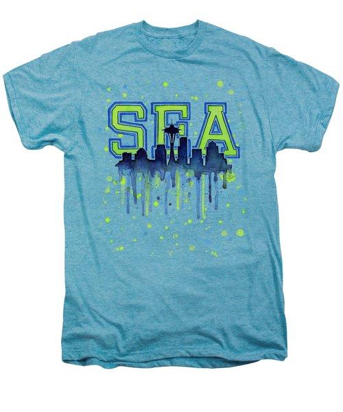 Seattle Watercolor 12th Man Art Painting Space Needle Go Seahawks Men's Premium T-Shirt by Olga Shvartsur