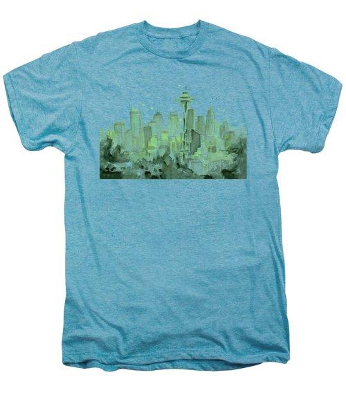 Seattle Watercolor Men's Premium T-Shirt by Olga Shvartsur