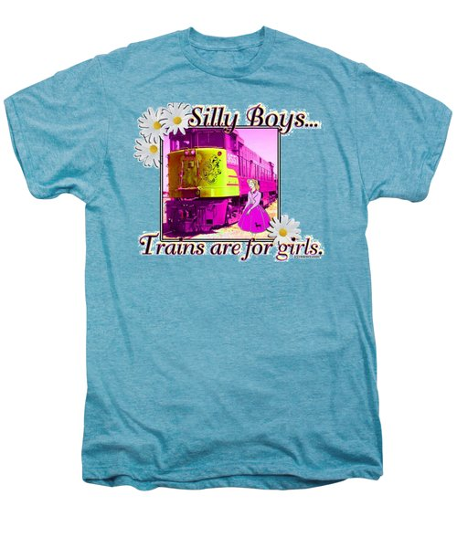 Silly Boys, Trains Men's Premium T-Shirt by Sheri Cockrell