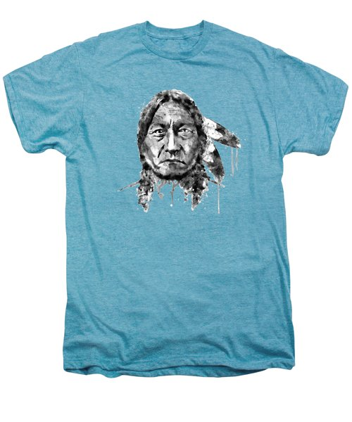 Sitting Bull Black And White Men's Premium T-Shirt by Marian Voicu