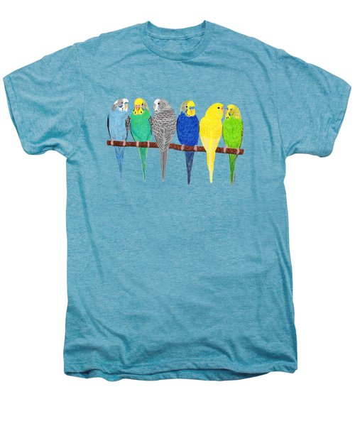 Six Parakeets Men's Premium T-Shirt by Rita Palmer