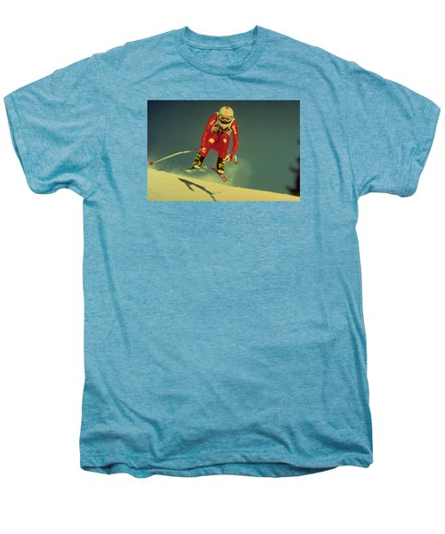 Men's Premium T-Shirt featuring the photograph Skiing In Crans Montana by Travel Pics