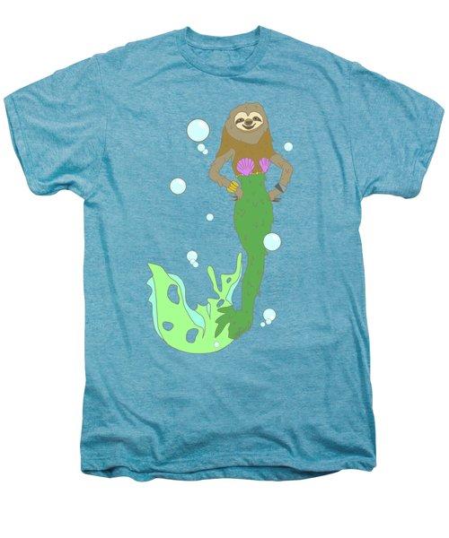 Sloth Mermaid Men's Premium T-Shirt by Notsniw Art