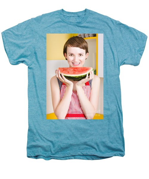 Smiling Young Woman Eating Fresh Fruit Watermelon Men's Premium T-Shirt by Jorgo Photography - Wall Art Gallery